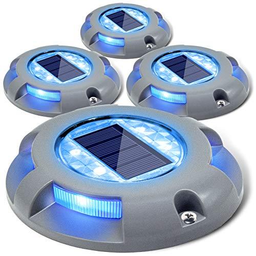 Siedinlar センサーライト 屋外 ソーラーライト 屋外 防水 埋め込み式 LED 金属製 ガーデン 駐車場 デッキライト 玄関 階段 足元 芝生 園芸 光センサー 夜間自動点灯 太陽光発電 おしゃれ ブルー光 4個セット