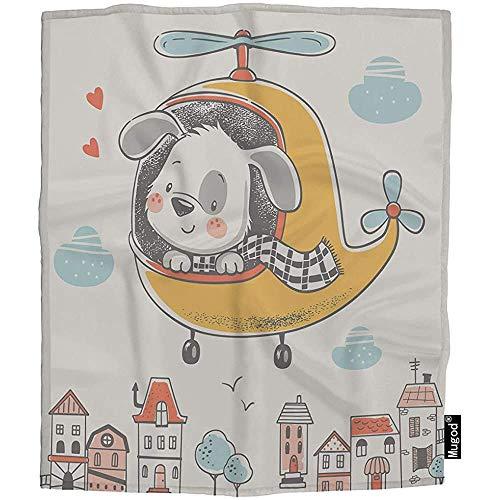 QDAS Werfen Sie niedlich auf Hubschrauber Schal Vogelhäuser Gemütliche warme Decken für Kleinkind Hund