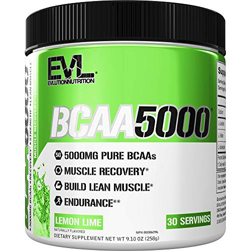 Evlution Nutrition BCAA5000 Powder 5 Grams of Branched Chain Amino Acids (BCAAs) Essential for Performance, Recovery, Endurance, Muscle Building, Keto Friendly, Zero Sugar, 30 Servings (Lemon Lime)