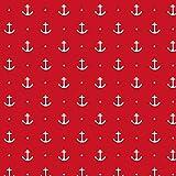 Schickliesel maritimer Jersey Stoff Meterware Anker rot