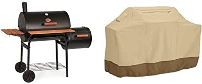 Char-Griller 1224 Smokin Pro 830 Square Inch Charcoal Grill with Side Fire Box with Classic Accessories Cover