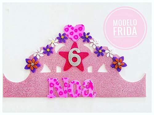 HANDYLANDIA Corona CUMPLEAÑOS con Nombre Goma EVA Modelo Frida