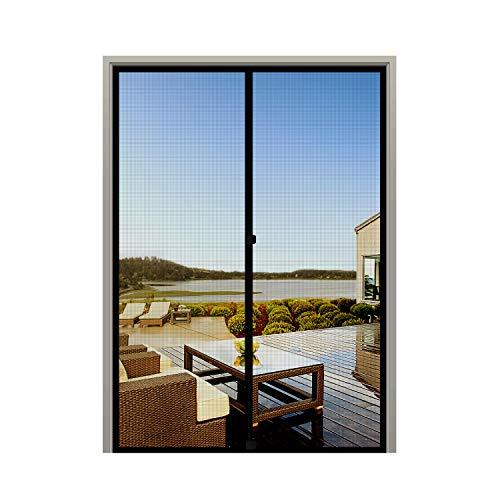 MAGZO Screen Door Magnets 48 x 80, Durable Fiberglass Double Door Mesh with Full Frame Hook&Loop Fits Door Size up to 48'x80' Max-Black