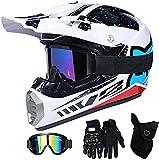 Aishengjia Casco da Motociclista Casco da Motocross, Mt-60 Caschi da Cross per Moto Fuoristrada Integrale con Occhiali Guanti da Maschera, Set di Caschi da Moto per Sport all'Aria Aperta MTB da Moto