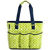 Picnic at Ascot Large Insulated Multi Pocketed Travel Bag With 6 Exterior Pockets, Trellis Green