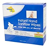 Diamond Wipes Instant Hand Sanitizer Alcohol (62% ethyl alcohol) Wipes 100 Count Packets, Kills…