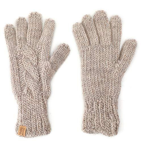 ウール100% てぶくろ屋さんが作ったウール100%もこもこ手編み風レディース手袋 ベージュ