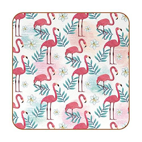Posavasos para Bebidas Hojas de Flamenco Rosa Coasters Juego de 6 impresión Mug Mats para la Cocina Salón Bar Decoración Regalos de Diseño Creativo 10.3x10.3 cm