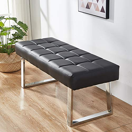 Greneric Sitzbank Schuhbank Sofabank Moderne Bettbank minimalistische Ruhebank SitzBank Kunstleder Lange Bank Schwarz (Black)