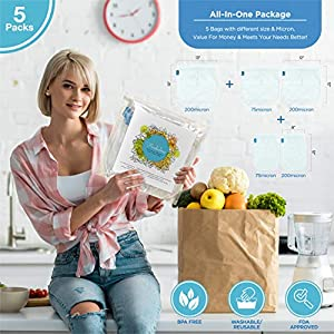 5 Multi Pack Premium Nut Milk Bag - 75&200 Micron - Durable Reusable Ultra Fine Mesh Nylon Cheesecloth Strainer For Cold…  