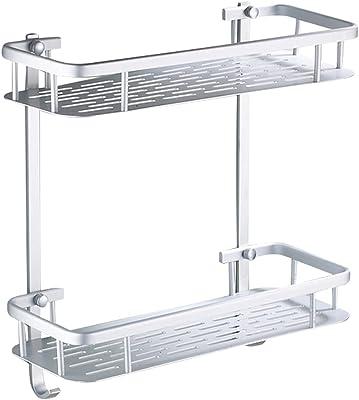 【アルミ製】 シャンプーラック 浴室 2段式 粘着フック取付 穴あけ不要 錆びにくい 耐荷重10kg