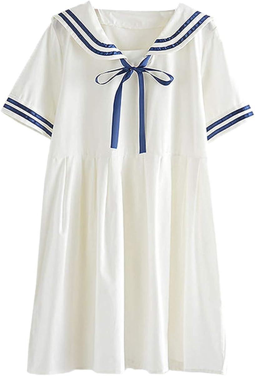 Packitcute Girls' Dresses Japanese Sailor Uniform Cute Pleated Dress
