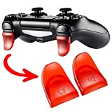 eXtremeRate 2 Pairs L2 R2 Buttons Extention Trigger Extenders for Playstation 4 PS4 Controller JDM-030 - Transparent Red