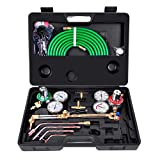 Toolsempire Portable Gas Welding Cutting Kit Oxy Acetylene Oxygen Torch Brazing Fits, Victor Type Tool Set,17pcs Tool Set with Two Hose,Goggles,Regulator Gauges,Storage Case