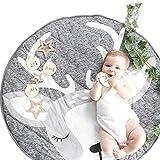 WLPARTY Baby Krabbeldecke, rutschfeste Kinderkrabbeldecke aus Baumwolle waschbare tragbare Spieldecke für die Dekoration von Kinderzimmern auf dem Boden (Graues REH)