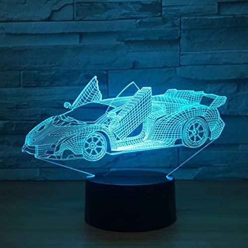 Lámpara de coche de 7 colores, luz de noche acrílica, luces de colores para niños, lámpara de escritorio Usb, decoración nocturna de ambiente
