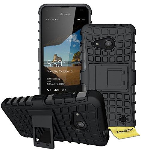 FoneExpert® Microsoft Lumia 550 Handy Tasche, Hülle Abdeckung Cover schutzhülle Tough Strong Rugged Shock Proof Heavy Duty Case für Microsoft Lumia 550 + Bildschirmschutzfolie (Schwarz)