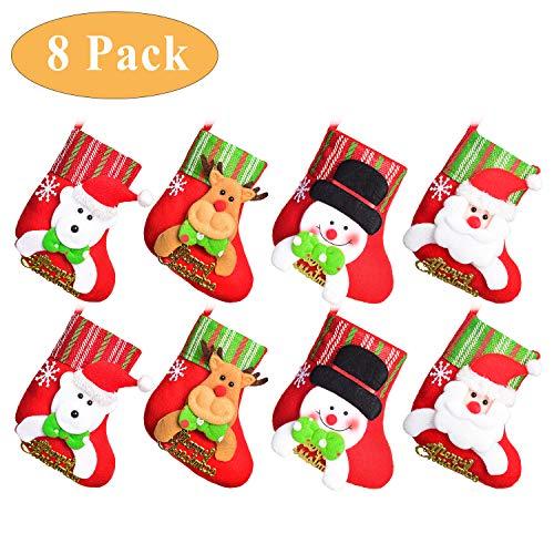 YQing 8 Confezione Mini Calze di Natale Classiche, Calza di Natale Calze per Regali e Dolcetti, Sacchetto Porta Caramelle per Dolci, Regali di Natale per Bambini, Decorazioni per Albero di Natale