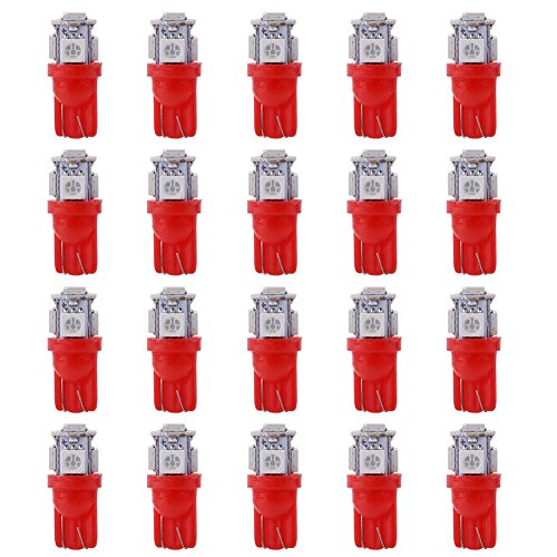 Qiilu 20pcs 12V T10 5050 5 SMD LED Voiture Ampoules Coin Wedge Super Bright Lampe(rouge)