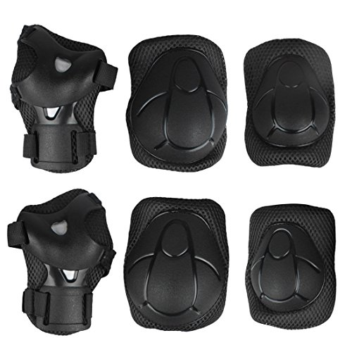 Andux Zone 6 Pcs Pour Enfants Youth de Protection Gear Lot de Genou Coude Support de Poignet Coussinets Pour Roller Skating BMX Cyclisme Skateboard Scooter ETHJTZ-01 Noir