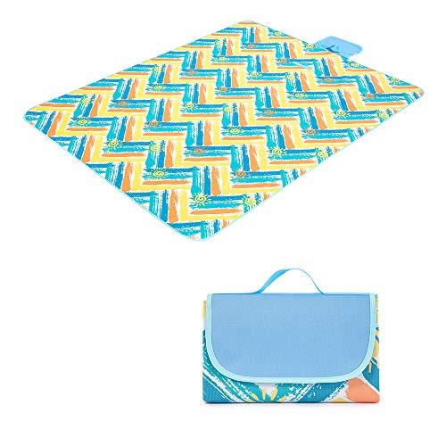 LBLA Picknickdecke wasserdichte Wärmeisoliert mit Tragegriff 145 x 200 cm, Stranddecke/Campingdecke/Picknick-Matte/Outdoordecke (Sonnenschein Urlaub, Blau)