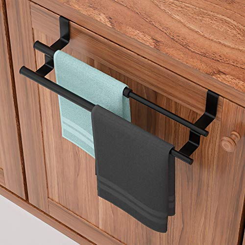 Kitchen Towel Holder Over Cabinet Towel Bar Rack, Expandable 2 Tier Over The Cabinet Door Towel Rack for Universal Fit on Inside or Outside of Cupboard Doors, Stainless Steel, Black