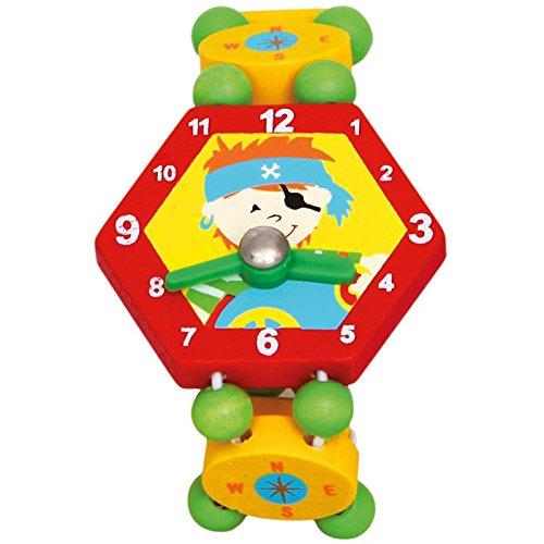 Bino & Mertens 9086039 Holzuhr Pirat, Spielzeuguhr für Kinder ab 3 Jahre, Kinderspielzeug (Uhr ab 3 Jahre, multifunktionale Lehruhr für Vorschüler, bringt viel Spaß beim Lernen der Zeit, lustiges Design), Mehrfarbig