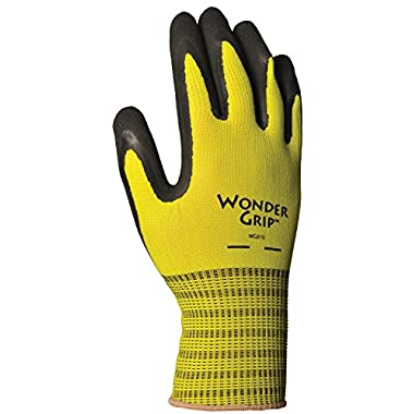 LFS Inc Wonder Grip WG310S Extra Grip Seamless Knit Work Gloves, Double-Coated Black Latex Palm, Excellent Wet or Dry Grip, Small, Yellow