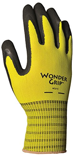 Wonder Grip WG310S Extra Grip Seamless Knit Work Gloves, Double-Coated Black Latex Palm, Excellent Wet or Dry Grip, Small, Yellow -  LFS Inc