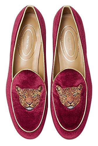 Journey West Women's Penny Loafers Flats Embroidery Velvet Shoes Slip On Belgian Loafers for Women Leopards Burgundy US 7.5