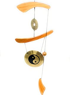 THY COLLECTIBLES Feng Shui Brass Gong Wind Chime for Patio, Garden, Terrace, Balcony Or Any Room - Beautiful YIN & YANG Design Piece