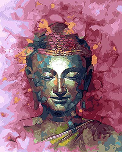 """Paint by Numbers Kits""""Pink Buddha""""Acrylic Pigment DIY Handmade Canvas Painting for Adults Beginner Digital Painting core(Without Frame)"""