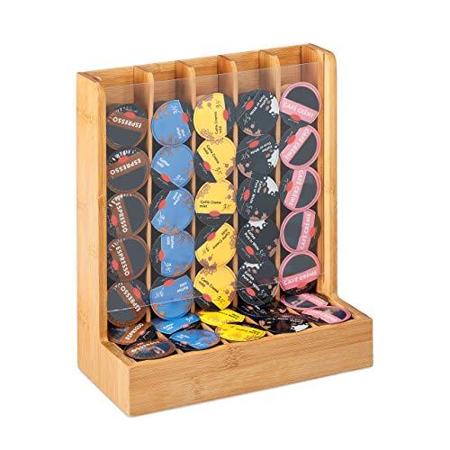 Relaxdays Kapselhalter für Cafissimo Kaffeekapseln, edler Kapselspender, Bambus & Acryl, HxBxT: 29 x 24,5 x 12 cm, natur