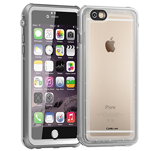 "CellEver iPhone 6 / 6s Case Waterproof Shockproof IP68 Certified SandProof Snowproof Full Body Protective Cover Fits Apple iPhone 6 and iPhone 6s (4.7"") - Clear White/Gray"