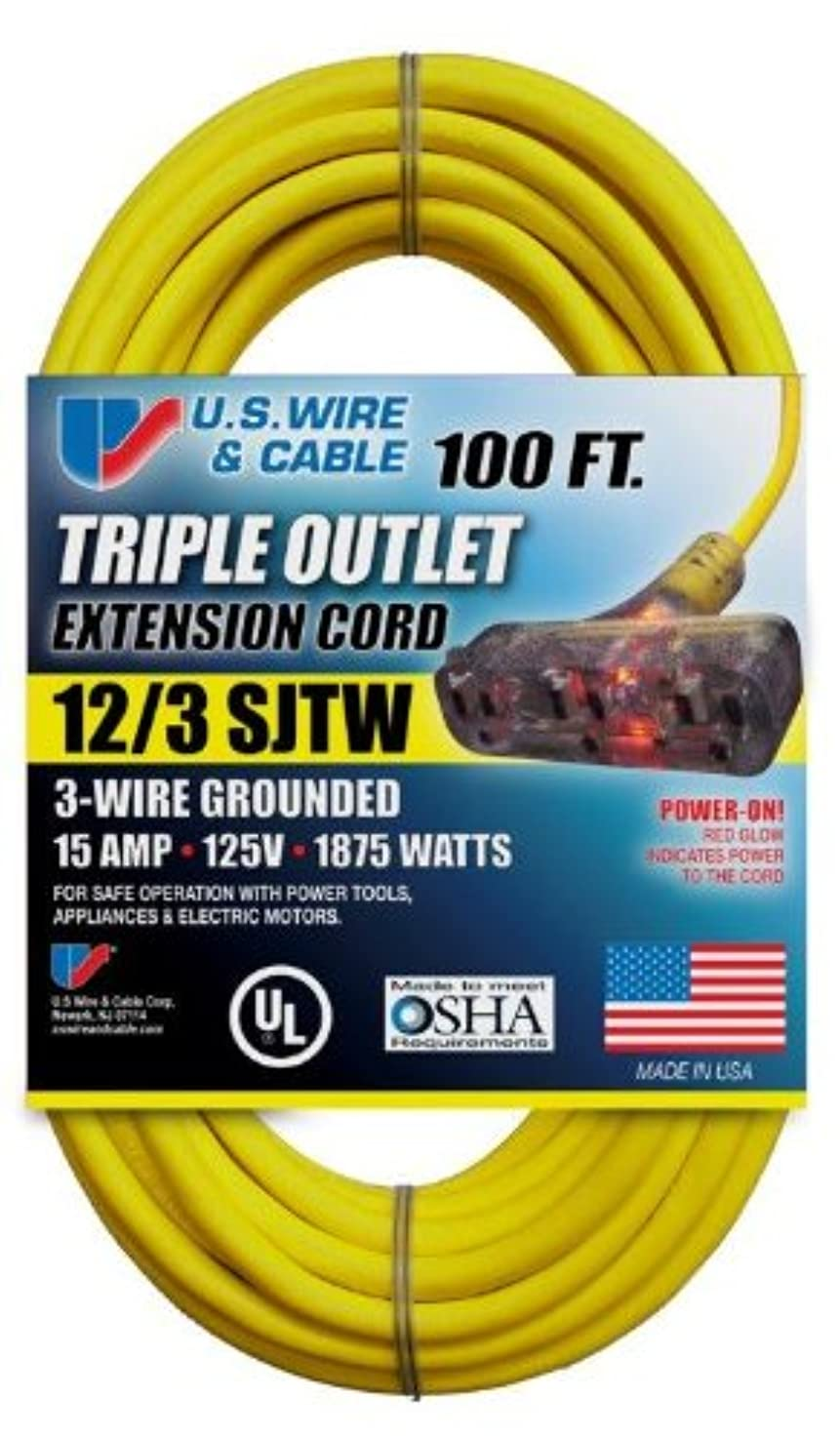 US Wire 76100 12/3 100-Foot SJTW Yellow Heavy Duty Extension Cord with Lighted Pow-R-Block sfvrnskrpydgk5