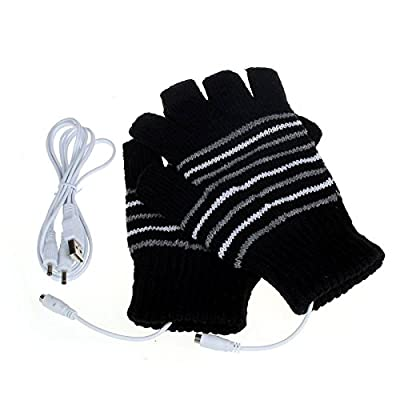 Sinwo Sinwo 5V USB Heating Warm Winter Gloves, Men Women Hand Warm Gloves Winter Heated Fingerless Warmer Mitten