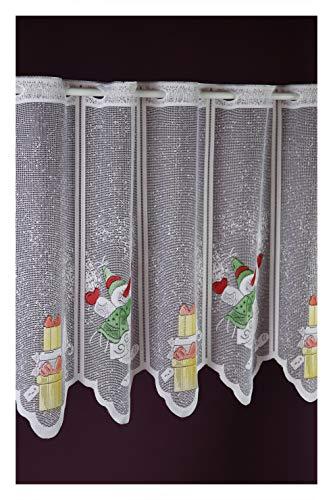 Scheibengardine nach Maß Schneemann Jacquard Lamellenpanneau Weihnachten Christmas Winterzeit Höhe 50 cm - Breite 15 cm Schritten wählbar Weiß Bunt