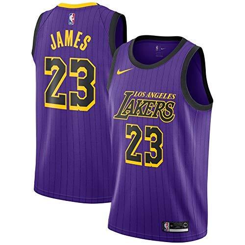 Lalagofe Lebron James, Los Angeles Lakers #23 Basket Jersey Maglia Canotta, Viola City Edition, Maglia Swingman Ricamata, Stile di Abbigliamento Sportivo (M)