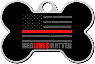 GPZHM Customized Thin Red Line Firefighter Flag Pet Tag - Bone Shaped Dog Tag & Cat Tags Pet ID Tag Personalized Custom Your Pet's Name & Number 3D Printing