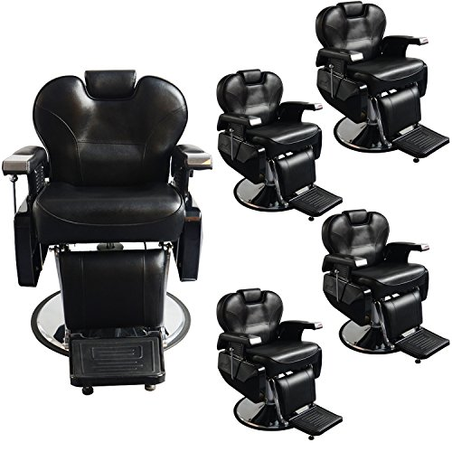 Save %24 Now! BarberPub Hydraulic Recline Salon Beauty Spa Styling Barber Chair Black S8702BK Sets of 5