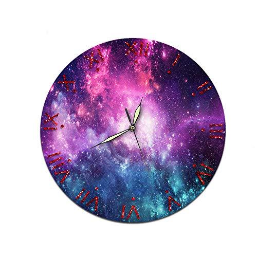 LUOYLYM Starry Sky Creative Home Reloj De Pared Acrílico Decoración De Pared Reloj Mudo Movimiento Espejo Reloj Starry Sky 06 28cm