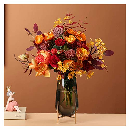 QWEA Sztuczne kwiaty retro sztuczne kwiaty, wysokiej klasy bukiety symulacyjne, suszone aranżacje kwiatowe, lekkie luksusowe dekoracyjne meble kwiatowe sztuczny kwiat strój (kolor: A)