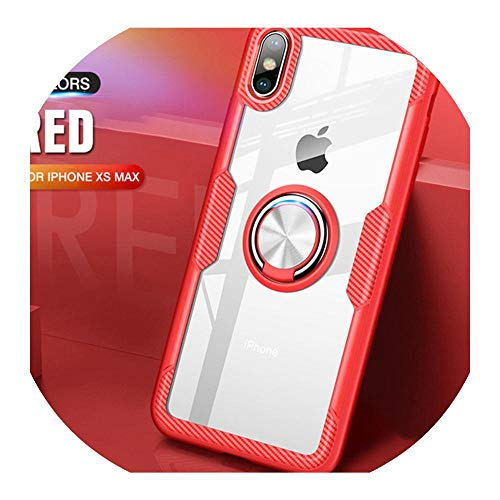 Clear Phone Case for iPhone XS Metal Ring Holder PC Transparent Back Cover for iPhone 11 Pro XS Max XR X 8 7 6S Plus Case,Red,For iPhone 7 8 Plus
