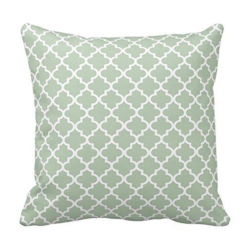 Sage Green and White Moroccan Quatrefoil Design Pillows Classic Chevron Stripes Pattern For Decoration Zipper Pillow Case Cover