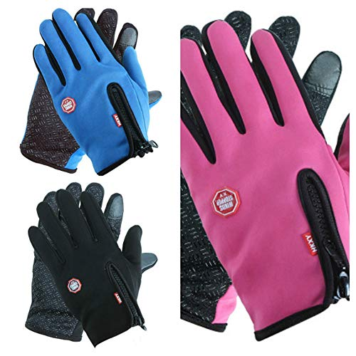 3Pcs Fahrradhandschuhe Touch Screen Long Finger Windproof Men and Women Winter Warm Sports Outdoor Full Bicycle Plus Velvet Thickened Cold Motorcycle