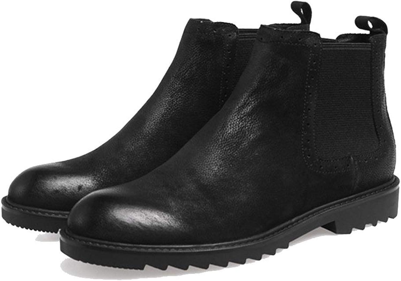 HWG -GAOYZ skor Mans Martin Ankle stövlar Footbear Autumn Winter Winter Winter Retro Andable Casual läder stövlar Non -slip, svart -42  det bästa nätbutikbjudandet