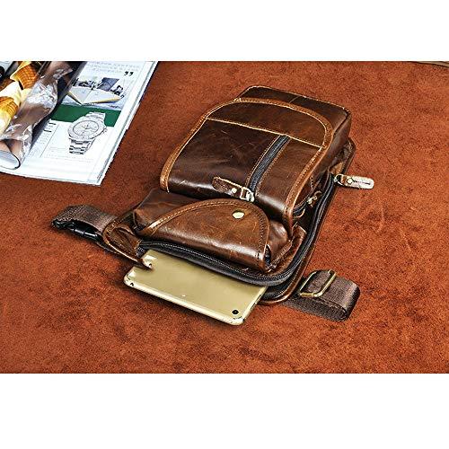 Ledermann påsar Retro Multifunktionell Bergsklättring Bag, Utomhus Riding Bag, Top lager läder Waist Bag, stor kapacitet nya läder Män väska, S zon Mens Bags