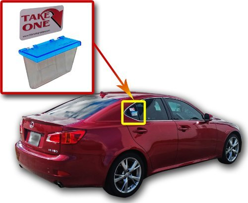 Marketing Holders Blue Outdoor Vehicle Business Card Holder Free (TAKE A Card) Sticker Included as Pictured