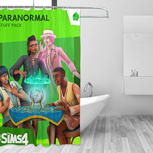 MargieJ The Sims 4 - Paranormal Stuff Shower Curtains Square Design Waterproof with Lovely and Fun Pattern Shower Curtains for Home,Bathroom,Spa,Hotel Colorful Funny with Standard Size 55 X 72 Inches