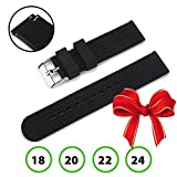 Quick Release Watch Band, Boonix Easy-Change Watch Strap, 24 mm Replacement Bands for Men & Women - Easy to Use - No Tools Required - Swap in Seconds - Premium Rubber Wristband [24mm Black Silicone]